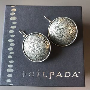 Silpada Sterling Etched Asian Dragon Disc Earrings